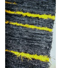 Bolyhos rongyszőnyeg fekete, sárga 75 x 200 cm