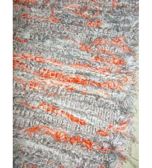 Bolyhos rongyszőnyeg szürke, piros 95 x 155 cm