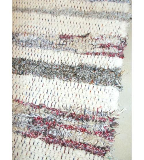 Bolyhos rongyszőnyeg nyers, barna, bordó 75 x 100 cm