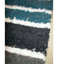 Bolyhos rongyszőnyeg szürke, kék, fehér 70 x 150 cm