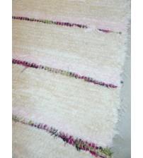 Bolyhos rongyszőnyeg nyers, rózsaszín 90 x 210 cm