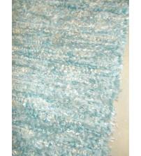 Bolyhos rongyszőnyeg kék, nyers 50 x 100 cm