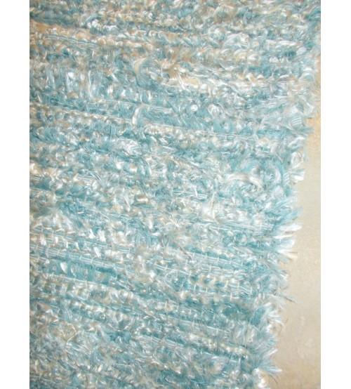 Bolyhos rongyszőnyeg kék, nyers 50 x 150 cm