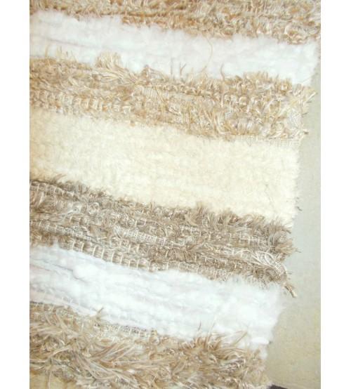 Bolyhos rongyszőnyeg barna, nyers, fehér 75 x 100 cm