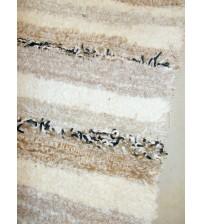 Bolyhos rongyszőnyeg barna, nyers, fekete 75 x 100 cm