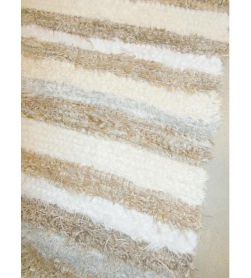 Bolyhos rongyszőnyeg barna, nyers, fehér, szürke 75 x 100 cm