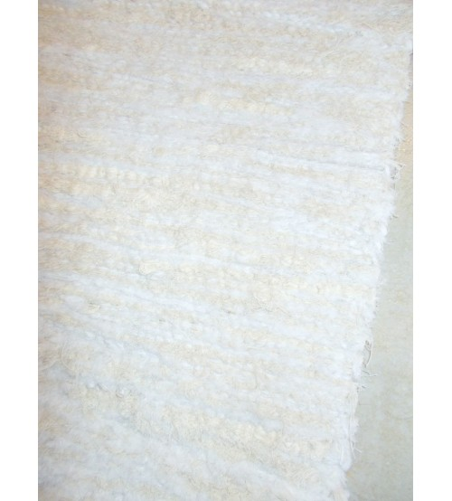 Bolyhos rongyszőnyeg nyers, fehér 70 x 150 cm