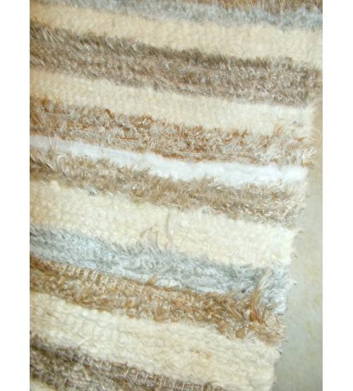 Bolyhos rongyszőnyeg barna, nyers, fehér, szürke 75 x 200 cm