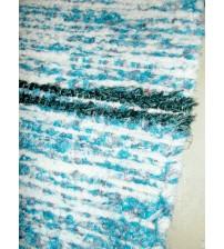 Bolyhos rongyszőnyeg kék, fehér, fekete 75 x 100 cm
