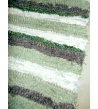 Bolyhos rongyszőnyeg zöld, barna, nyers 75 x 100 cm