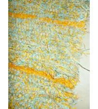 Bolyhos rongyszőnyeg kék, sárga 75 x 100 cm