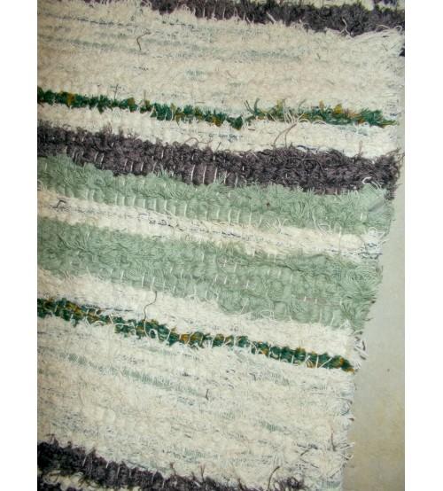 Bolyhos rongyszőnyeg zöld, barna, nyers 75 x 150 cm