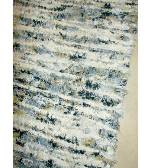 Bolyhos rongyszőnyeg kék, nyers, fekete, sárga 75 x 150 cm