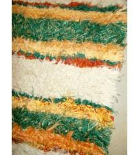 Bolyhos rongyszőnyeg zöld, sárga, barna 75 x 150 cm