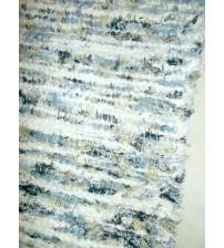 Bolyhos rongyszőnyeg kék, nyers, fekete, sárga 75 x 200 cm