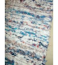 Bolyhos rongyszőnyeg kék, piros, fehér 75 x 200 cm