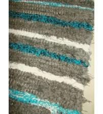 Bolyhos rongyszőnyeg barna, fehér, kék 75 x 200 cm