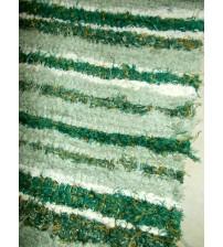 Bolyhos rongyszőnyeg zöld, nyers 75 x 200 cm
