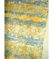 Bolyhos rongyszőnyeg sárga, kék, nyers 75 x 200 cm