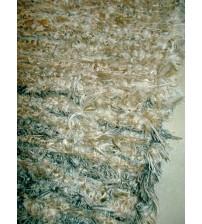 Bolyhos rongyszőnyeg barna 115 x 175 cm