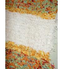 Bolyhos rongyszőnyeg barna, bordó, zöld, sárga 115 x 200 cm