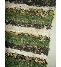 Bolyhos rongyszőnyeg zöld, barna, sárga, fekete 75 x 90 cm