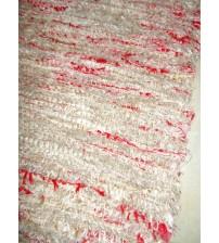 Bolyhos rongyszőnyeg barna, piros 75 x 150 cm