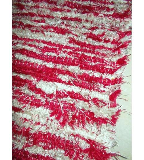 Bolyhos rongyszőnyeg piros, szürke 75 x 165 cm