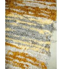 Bolyhos rongyszőnyeg barna, szürke, sárga 75 x 165 cm
