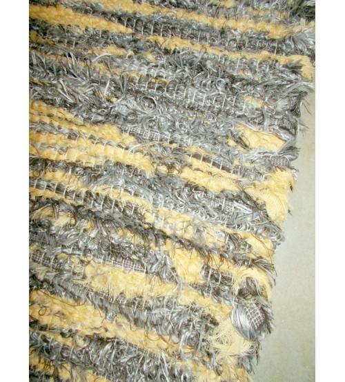 Bolyhos rongyszőnyeg szürke, sárga 75 x 145 cm