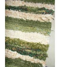 Bolyhos rongyszőnyeg zöld, nyers 75 x 150 cm