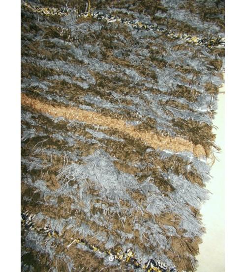 Bolyhos rongyszőnyeg szürke, barna 75 x 205 cm