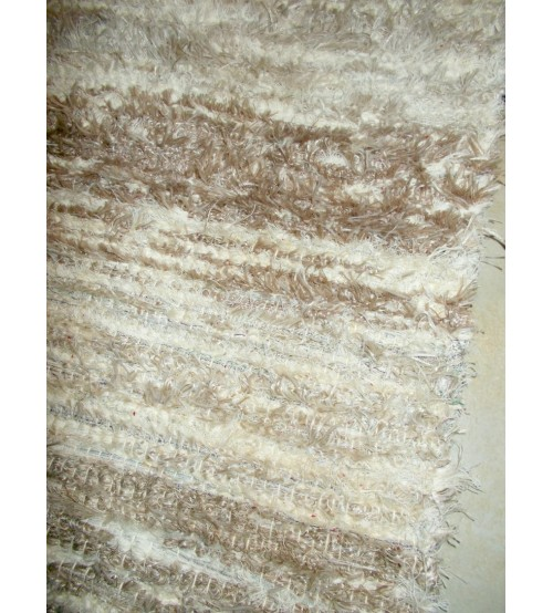 Bolyhos rongyszőnyeg barna, nyers 75 x 200 cm