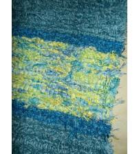 Bolyhos rongyszőnyeg kék, sárga 115 x 180 cm
