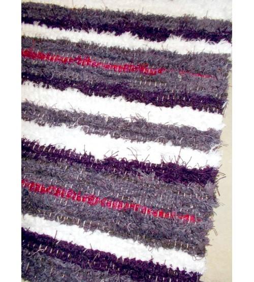 Bolyhos rongyszőnyeg lila, fehér, piros 75 x 100 cm