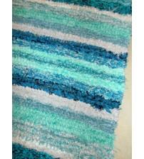 Bolyhos rongyszőnyeg kék, zöld 75 x 150 cm