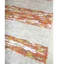 Bolyhos rongyszőnyeg szürke, barna, zöld 75 x 150 cm