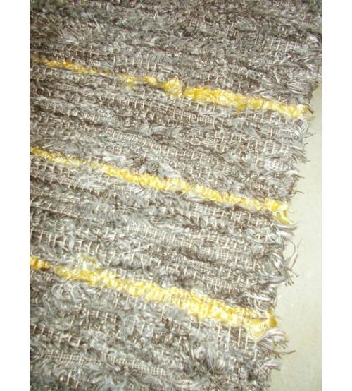 Bolyhos rongyszőnyeg barna, sárga 75 x 200 cm