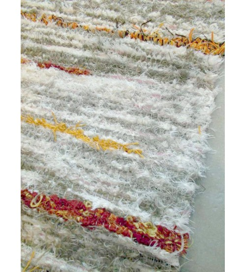 Bolyhos rongyszőnyeg barna, nyers, sárga 75 x 200 cm