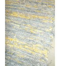 Bolyhos rongyszőnyeg kék, sárga 75 x 200 cm