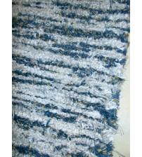 Bolyhos rongyszőnyeg kék, szürke, sárga 75 x 200 cm