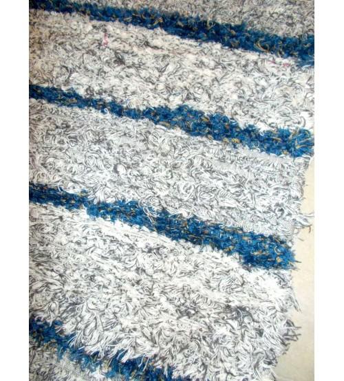 Bolyhos rongyszőnyeg szürke, kék, sárga 75 x 200 cm