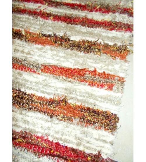 Bolyhos rongyszőnyeg barna, nyers, piros 75 x 200 cm