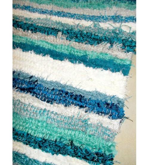 Bolyhos rongyszőnyeg kék, zöld, fehér 75 x 200 cm