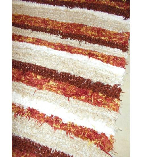 Bolyhos rongyszőnyeg barna, bordó, fehér 75 x 200 cm
