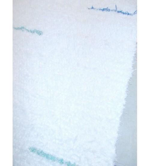 Bolyhos rongyszőnyeg fehér, kék, zöld 65 x 180 cm