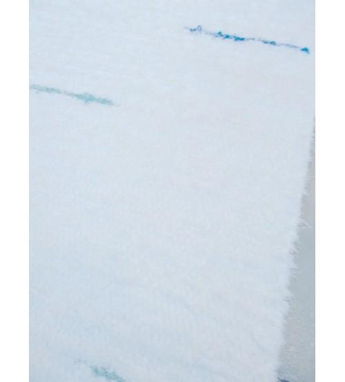 Bolyhos rongyszőnyeg fehér, kék, zöld 65 x 300 cm