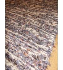 Bolyhos rongyszőnyeg szürke, barna, kék 75 x 150 cm