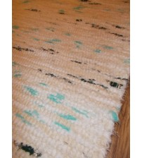 Bolyhos rongyszőnyeg nyers, fehér, zöld 75 x 150 cm