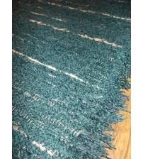 Bolyhos rongyszőnyeg kék, fehér 80 x 200 cm